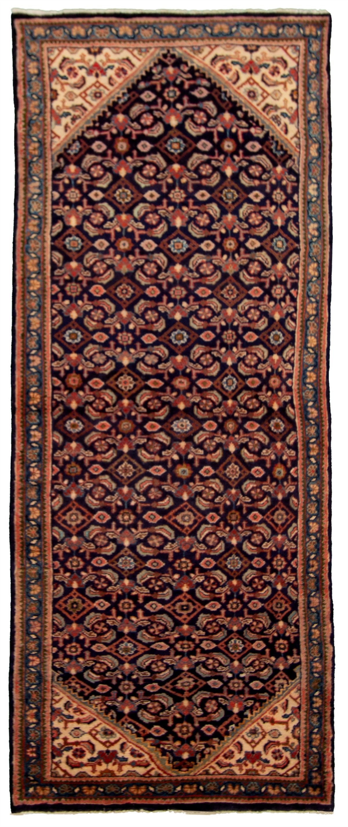 """Hand-knotted Mahal Dark Blue Wool Rug 3'7"""" x 9'3"""" Size: 3'7"""" x 9'3"""""""