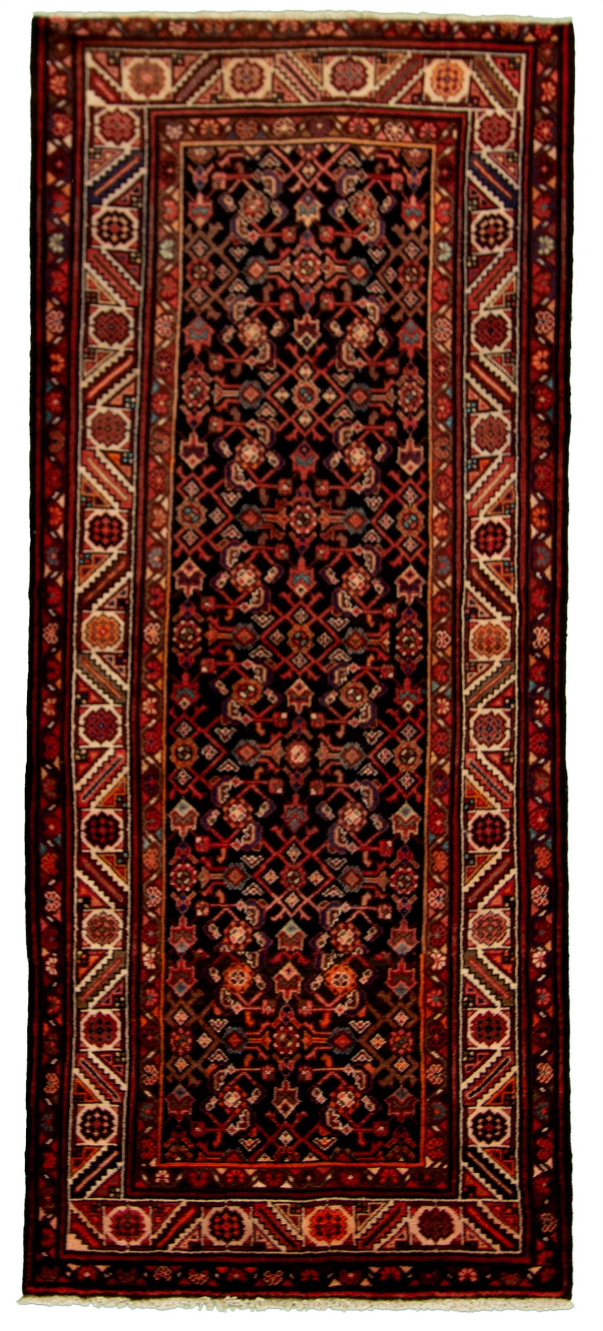 "Hand-knotted Hamadan Red Wool Rug 3'7"" x 8'9"" Size: 3'7"" x 8'9"""