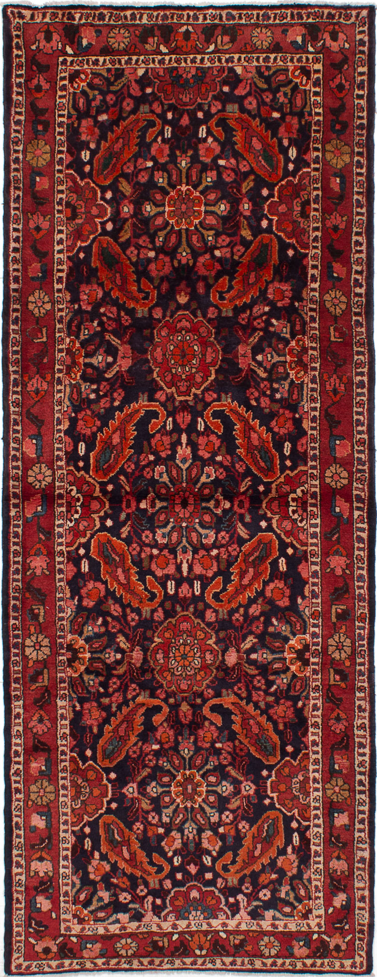 """Hand-knotted Lilihan Red Wool Rug 3'7"""" x 9'9"""" Size: 3'7"""" x 9'9"""""""