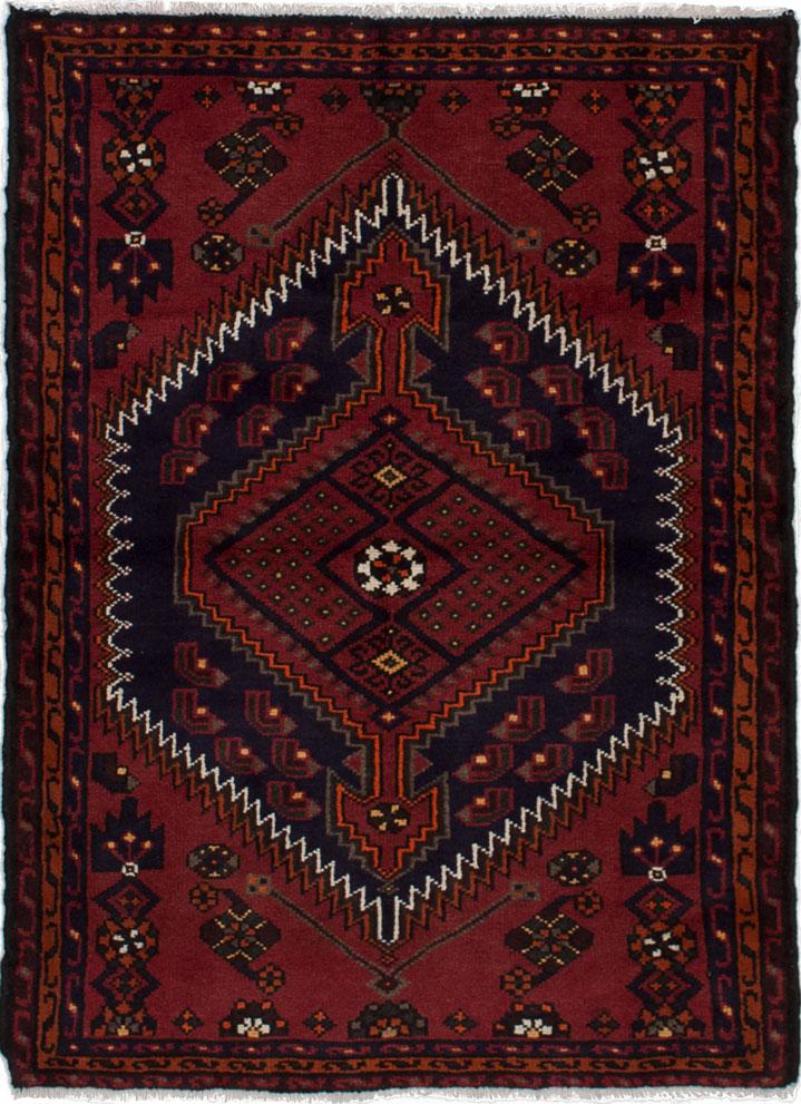 "Hand-knotted Hamadan Dark Red Wool Rug 3'5"" x 4'7"" Size: 3'5"" x 4'7"""