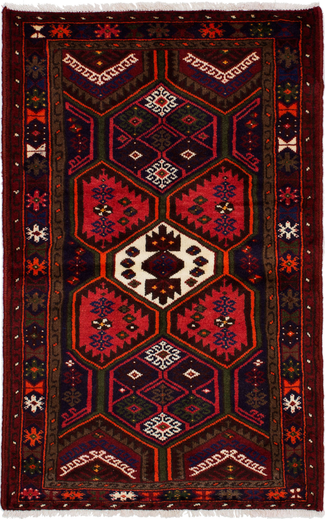 "Hand-knotted Hamadan Red Wool Rug 3'3"" x 5'2""  Size: 3'3"" x 5'2"""