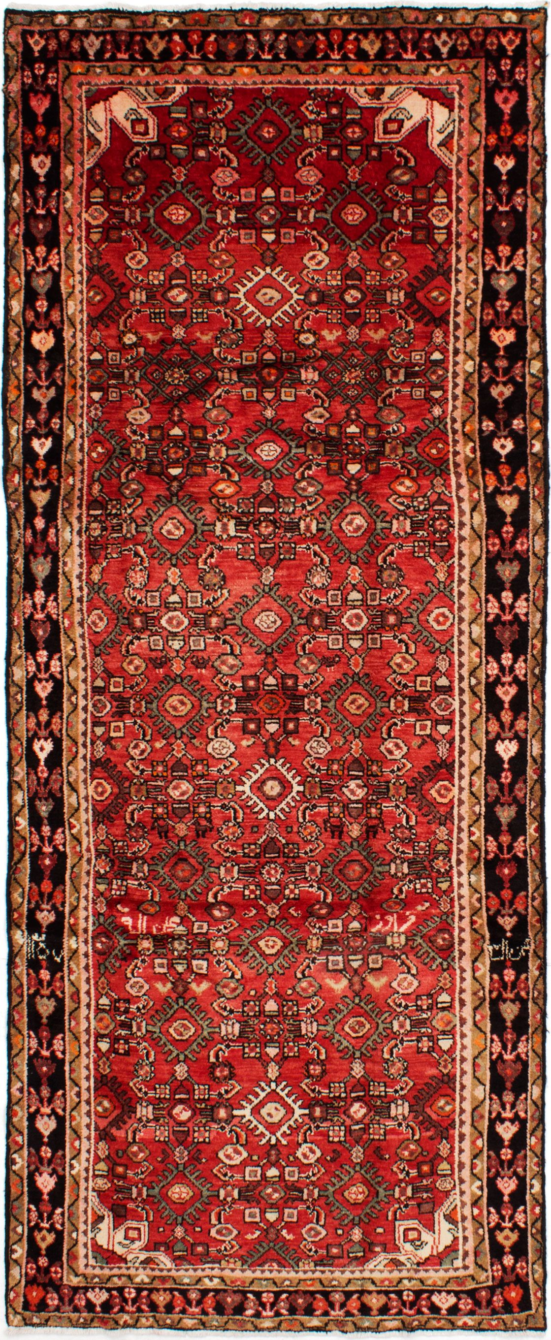 """Hand-knotted Hamadan Red Wool Rug 3'7"""" x 10'4""""  Size: 3'7"""" x 10'4"""""""