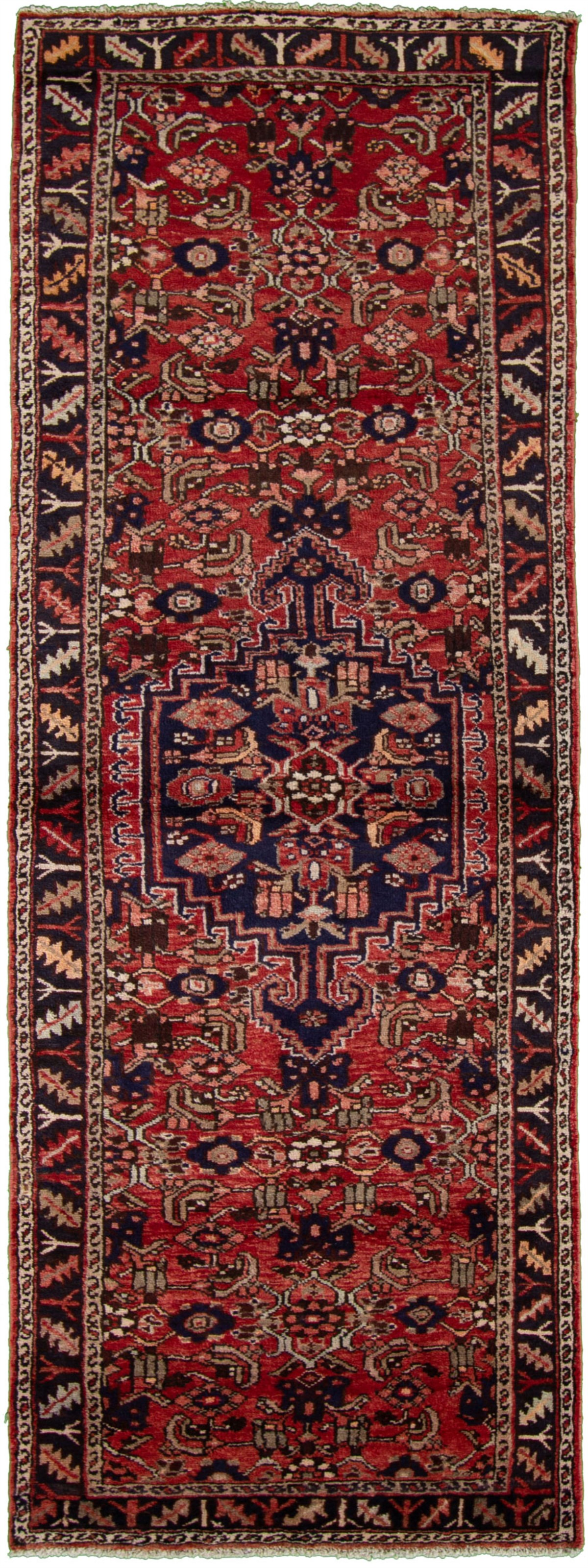 "Hand-knotted Hamadan Dark Navy, Red Wool Rug 3'5"" x 9'11"" Size: 3'5"" x 9'11"""
