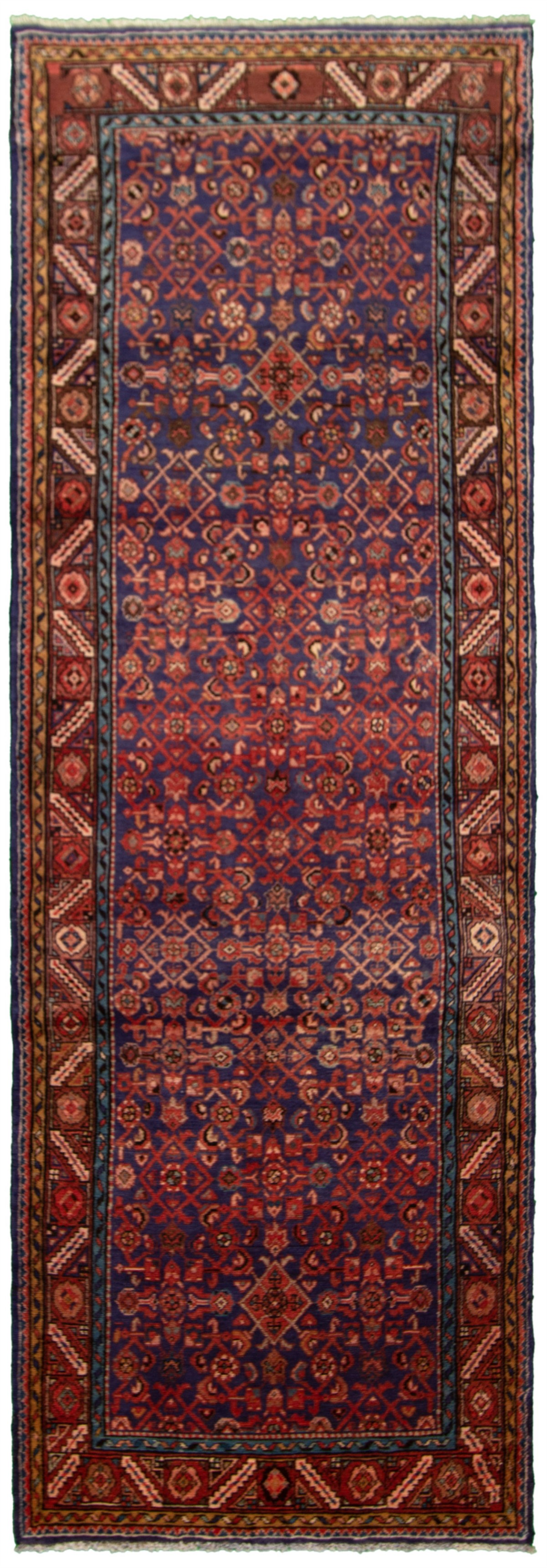 """Hand-knotted Mahal Navy Blue Wool Rug 3'6"""" x 10'9"""" Size: 3'6"""" x 10'9"""""""