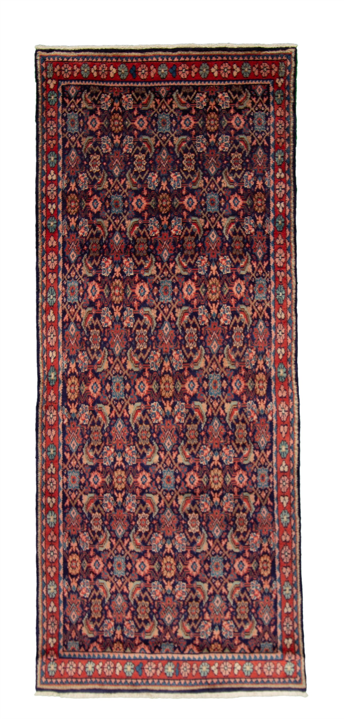 """Hand-knotted Mahal Navy Blue Wool Rug 3'10"""" x 9'2"""" Size: 3'10"""" x 9'2"""""""