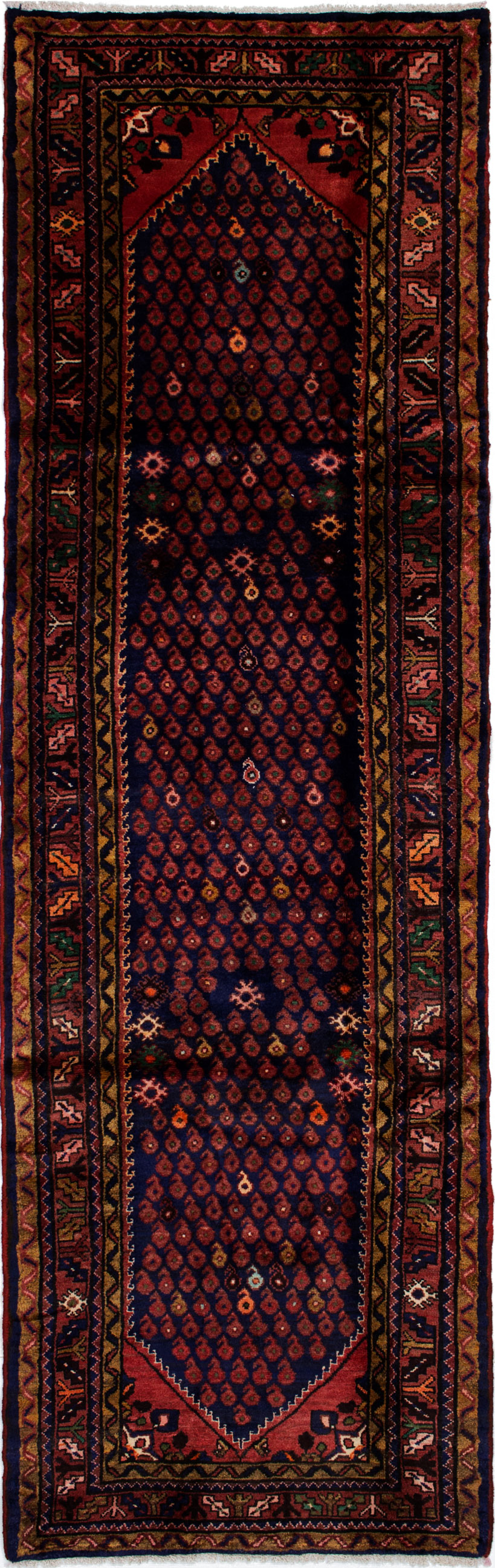 """Hand-knotted Hosseinabad Dark Blue Wool Rug 3'1"""" x 10'0"""" Size: 3'1"""" x 10'0"""""""