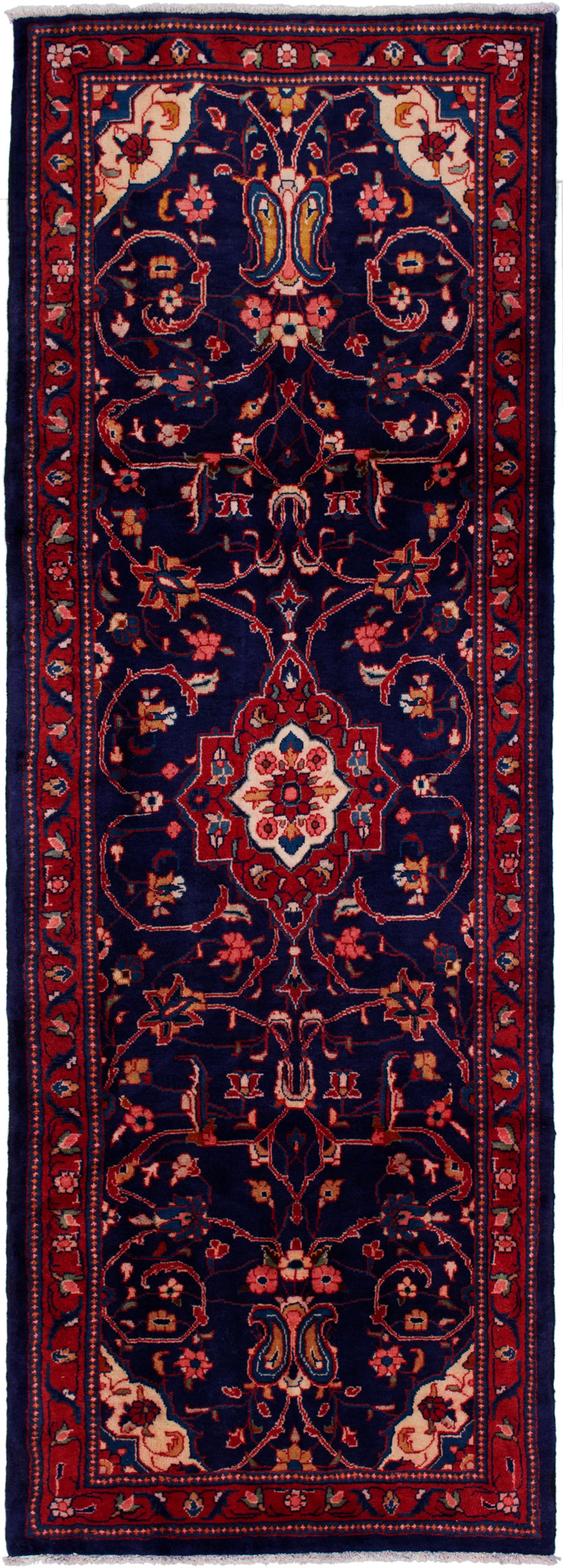 """Hand-knotted Mahal Navy Blue Wool Rug 3'6"""" x 9'11"""" Size: 3'6"""" x 9'11"""""""