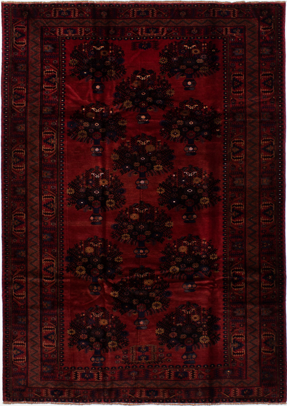 """Hand-knotted Finest Rizbaft Dark Red Wool Rug 6'10"""" x 9'7"""" Size: 6'10"""" x 9'7"""""""