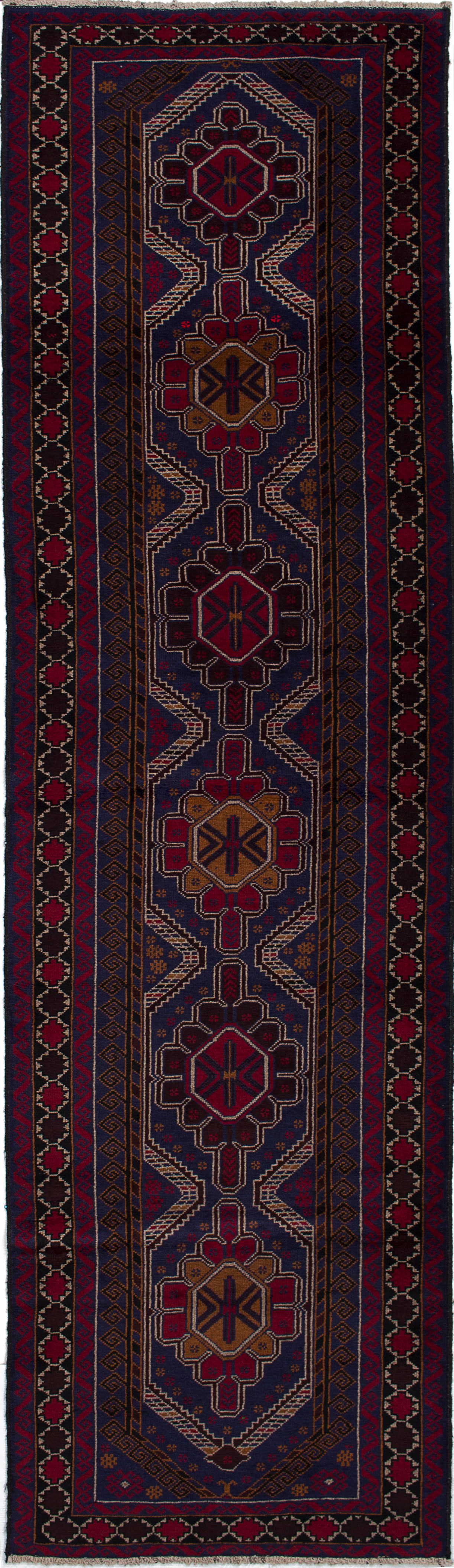 """Hand-knotted Teimani Navy Blue, Red Wool Rug 2'11"""" x 10'6"""" Size: 2'11"""" x 10'6"""""""