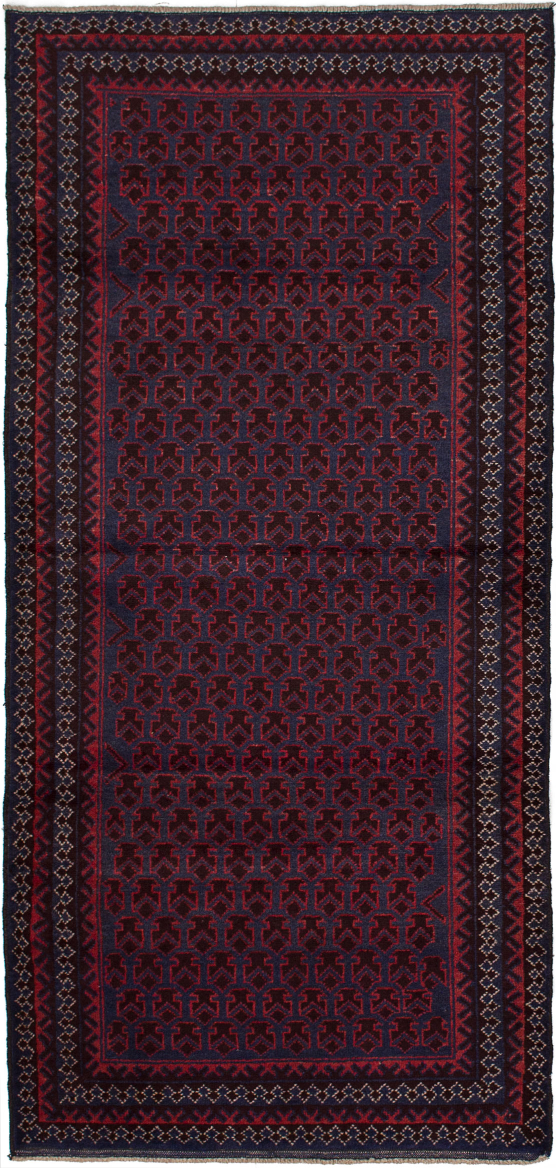 """Hand-knotted Finest Rizbaft Dark Blue, Red Wool Rug 2'10"""" x 6'0"""" Size: 2'10"""" x 6'0"""""""