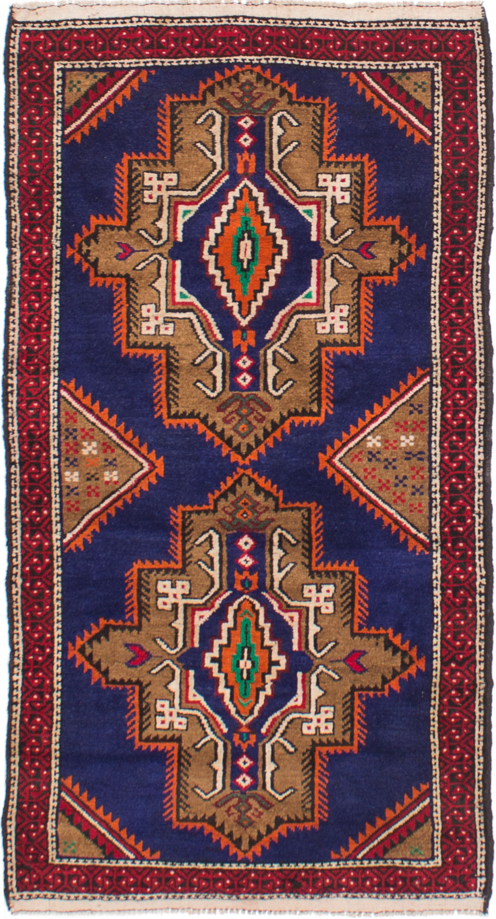"""Hand-knotted Royal Baluch Dark Blue Wool Rug 2'11"""" x 5'5"""" Size: 2'11"""" x 5'5"""""""