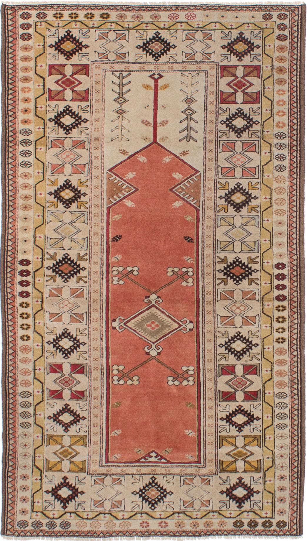 "Hand-knotted Ushak Cream, Dark Copper Wool Rug 3'11"" x 6'11"" Size: 3'11"" x 6'11"""