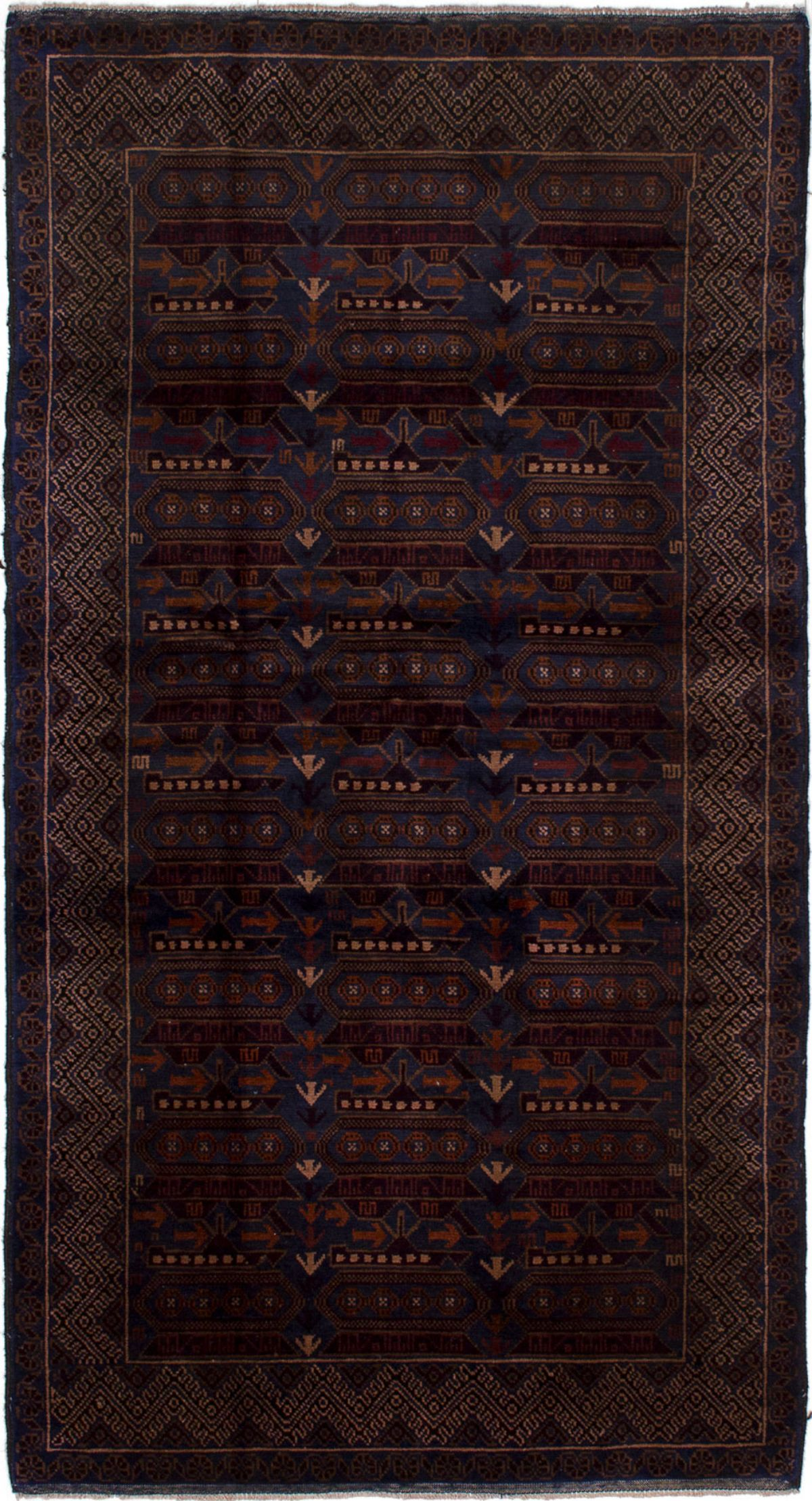 """Hand-knotted Rare War Brown, Navy Blue Wool Rug 3'8"""" x 6'8"""" Size: 3'8"""" x 6'8"""""""