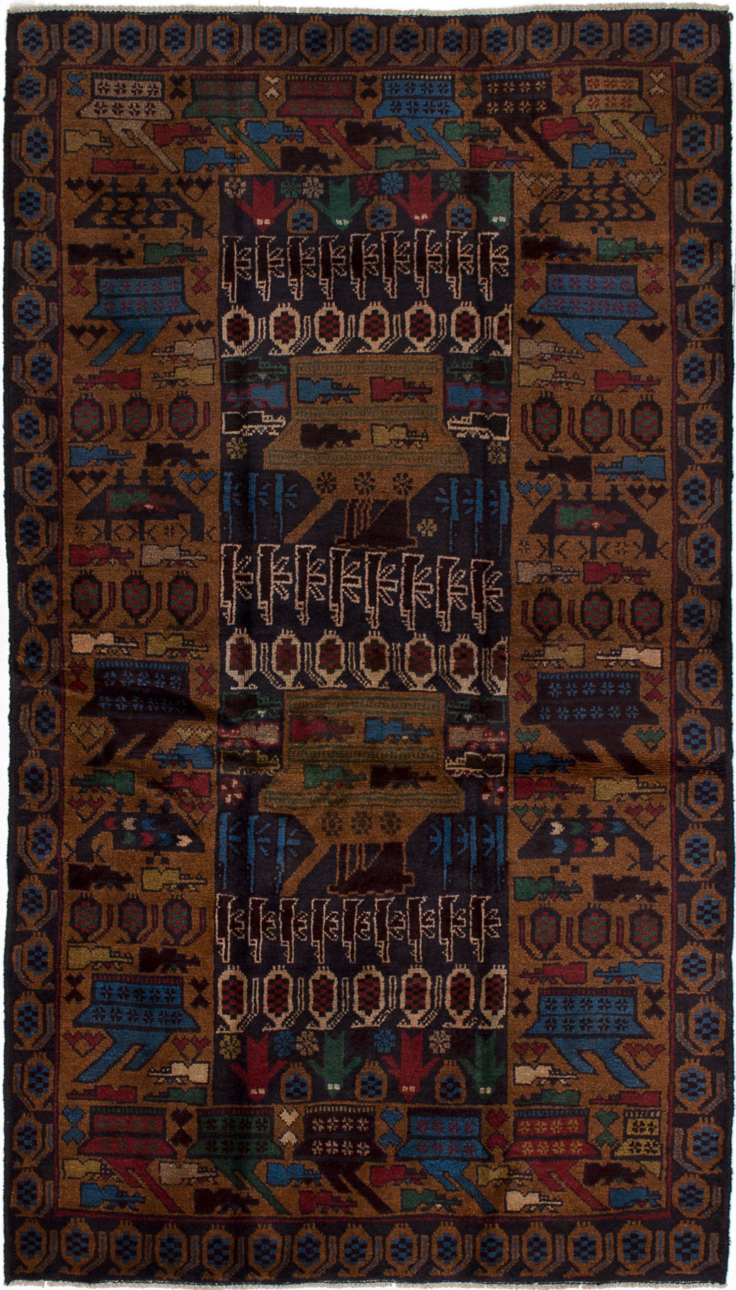 """Hand-knotted Rare War Brown, Navy Blue Wool Rug 3'9"""" x 6'8"""" Size: 3'9"""" x 6'8"""""""