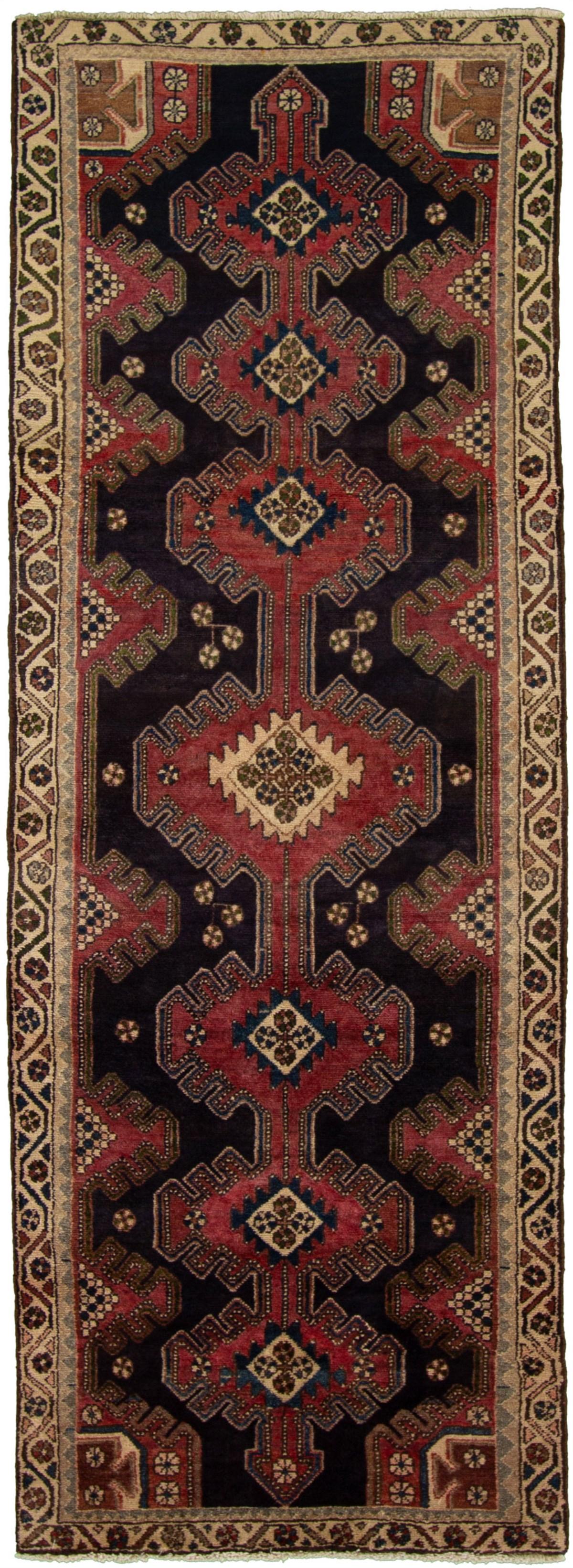 "Hand-knotted Hamadan Dark Navy, Red Wool Rug 3'2"" x 9'3"" Size: 3'2"" x 9'3"""