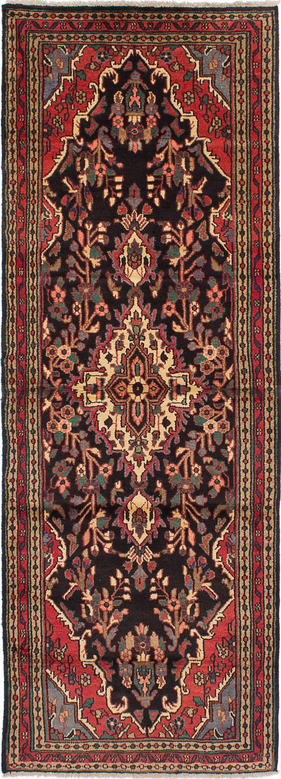 "Hand-knotted Hamadan Black, Dark Blue, Red Wool Rug 3'7"" x 9'10"" Size: 3'7"" x 9'10"""