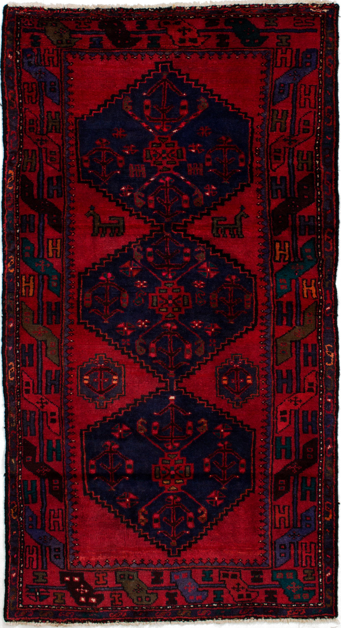 """Hand-knotted Hamadan Navy Blue, Red Wool Rug 3'5"""" x 6'8"""" Size: 3'5"""" x 6'8"""""""