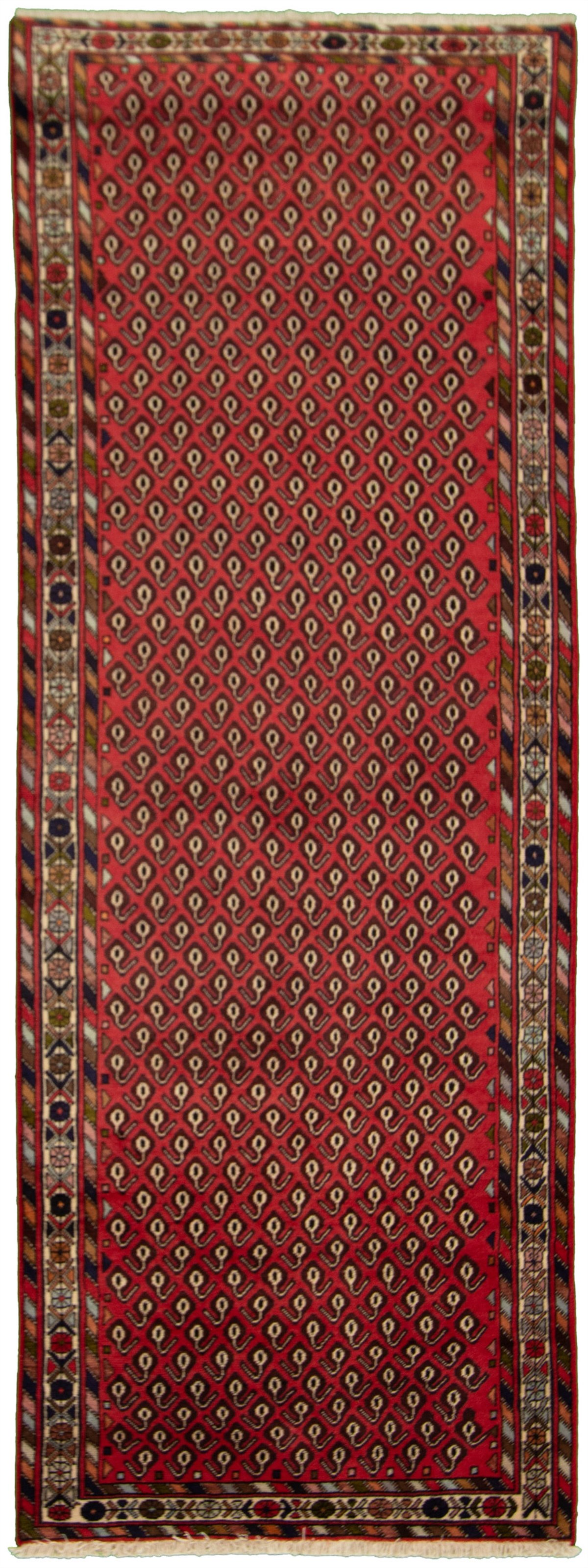 """Hand-knotted Afshar Red Wool Rug 3'3"""" x 9'0"""" Size: 3'3"""" x 9'0"""""""