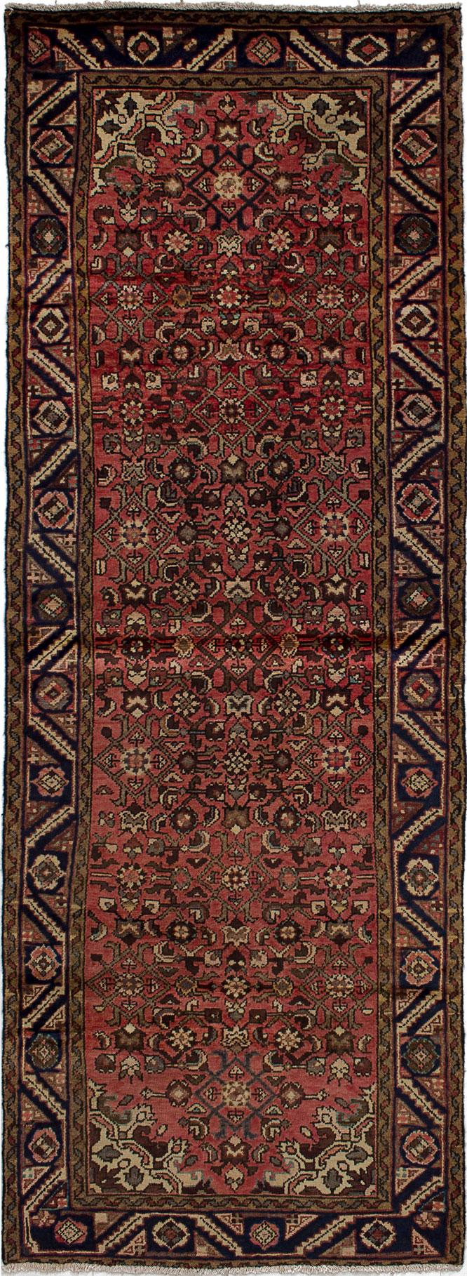 "Hand-knotted Hamadan Dark Copper Wool Rug 3'2"" x 9'1"" Size: 3'2"" x 9'1"""