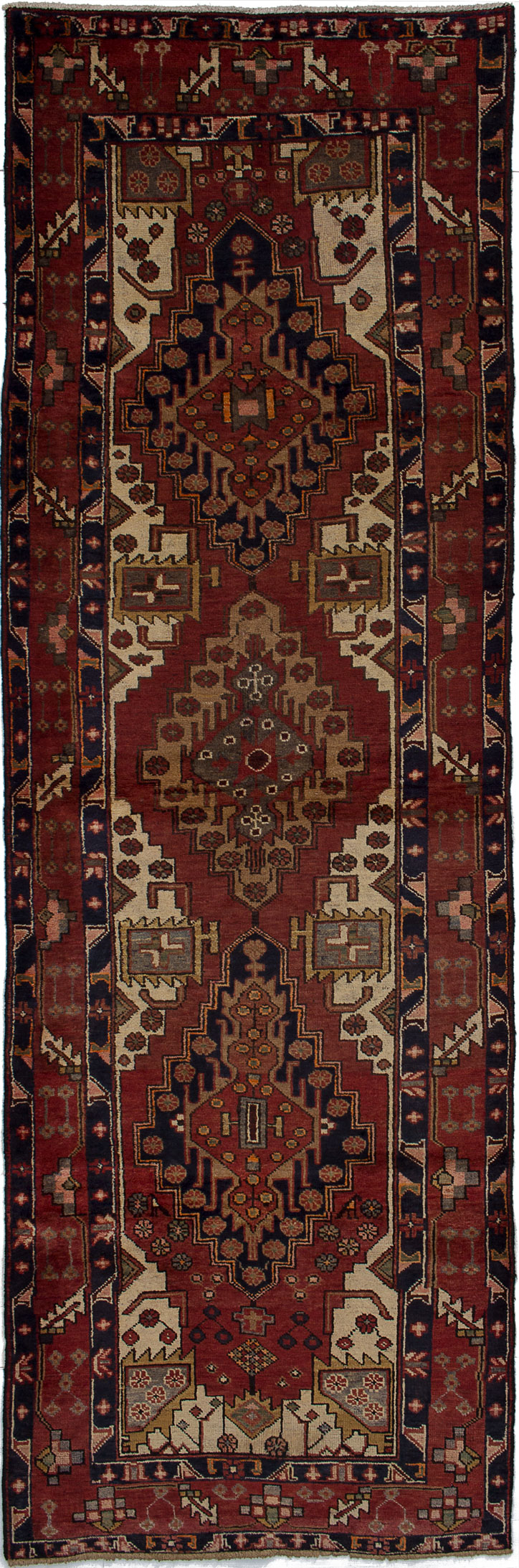 """Hand-knotted Ardabil Burgundy Wool Rug 3'6"""" x 10'11"""" Size: 3'6"""" x 10'11"""""""