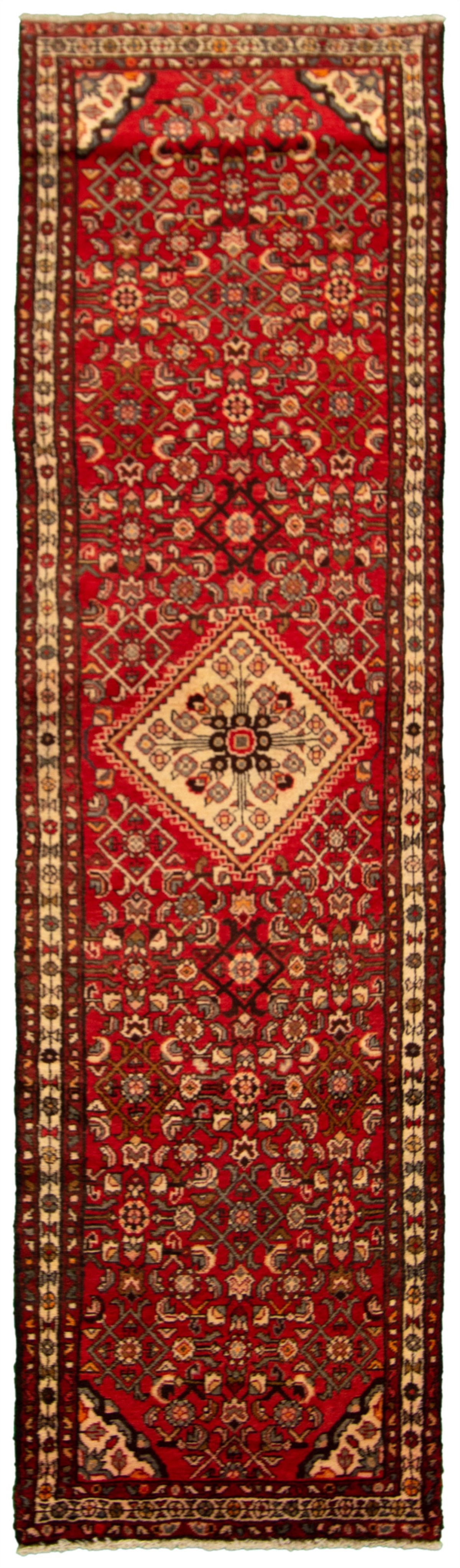 """Hand-knotted Hamadan Red Wool Rug 2'6"""" x 9'10"""" Size: 2'6"""" x 9'10"""""""