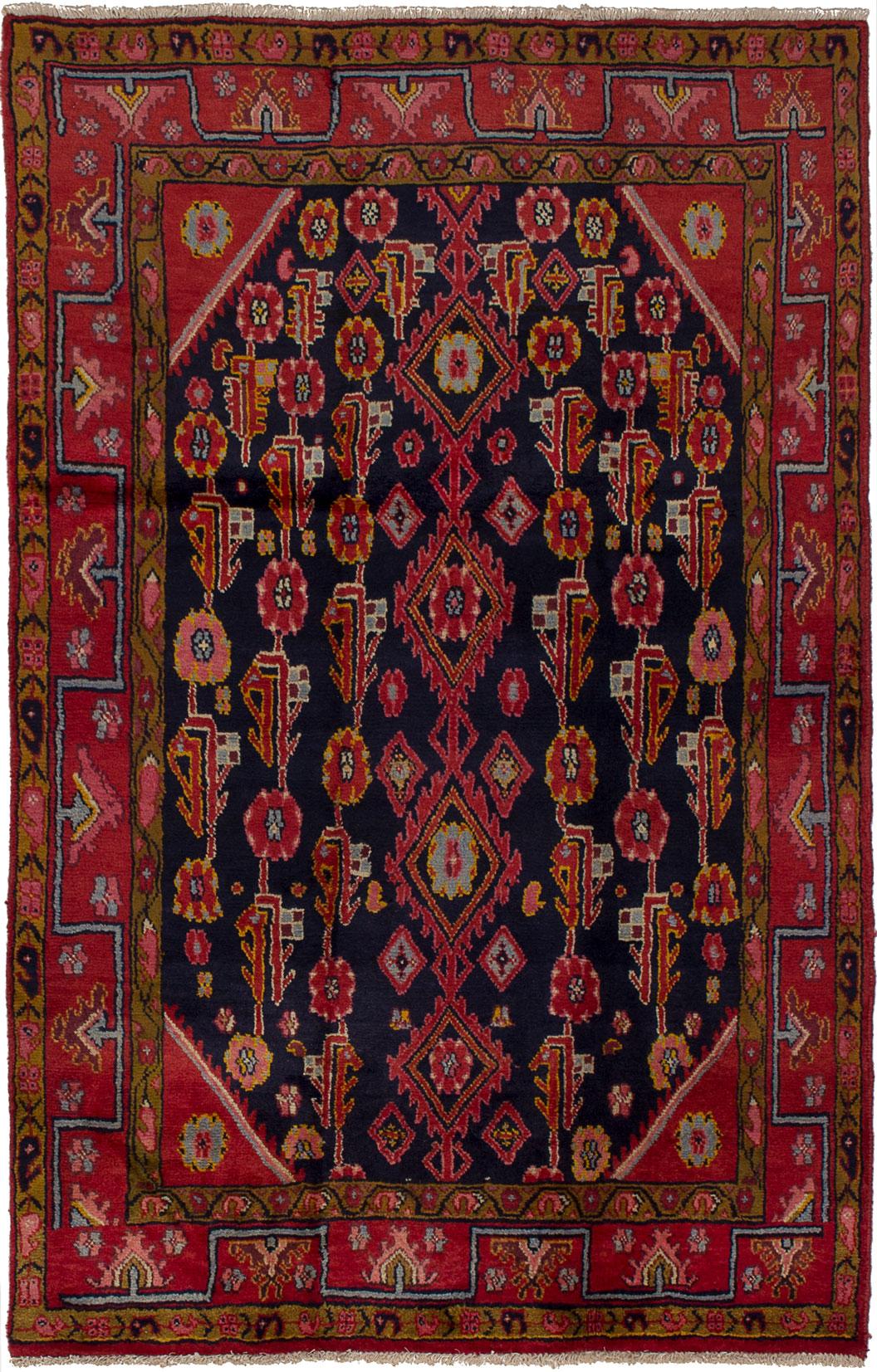 "Hand-knotted Hamadan Dark Blue, Red Wool Rug 4'0"" x 6'4"" Size: 4'0"" x 6'4"""