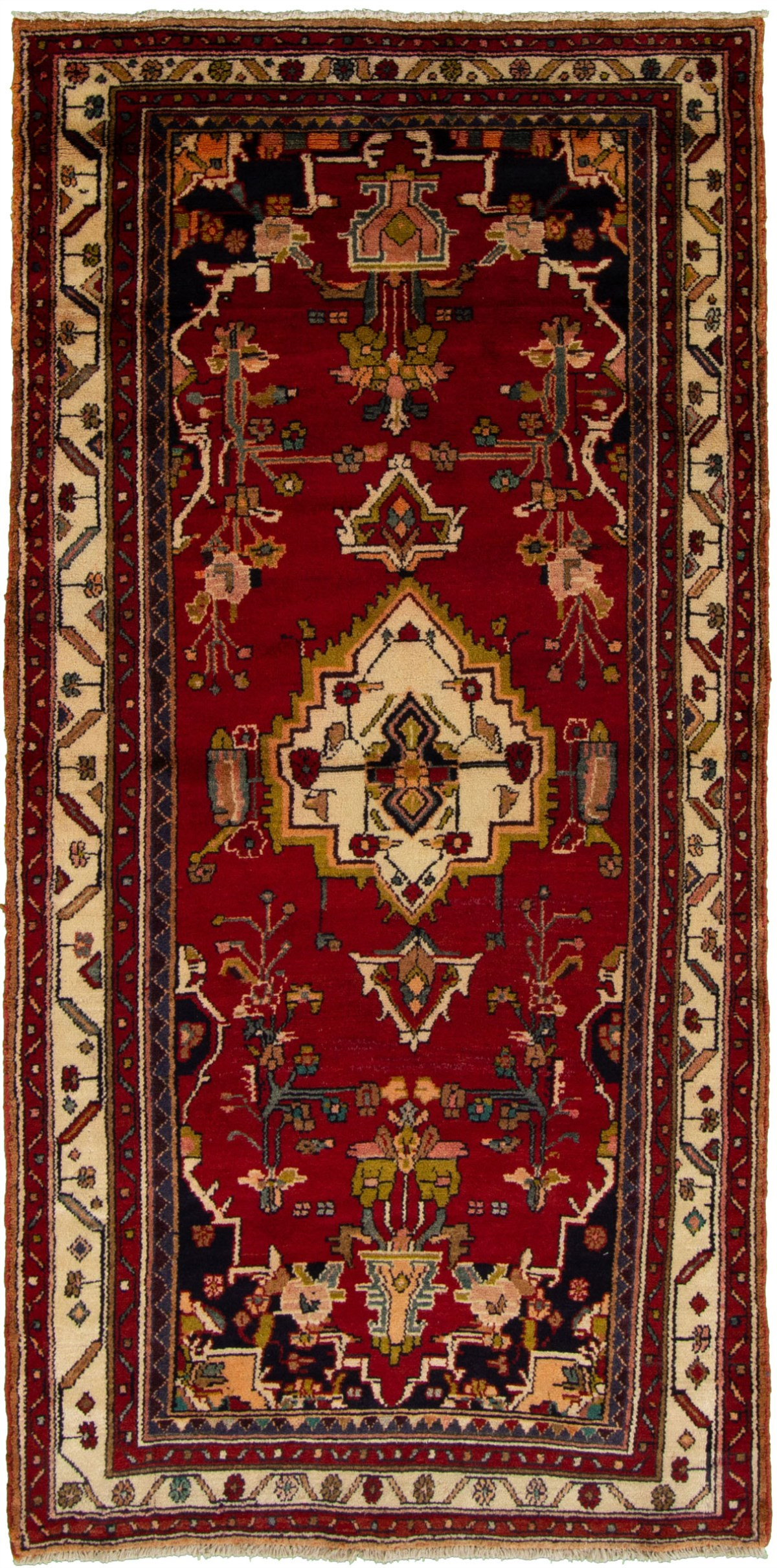 """Hand-knotted Hamadan Red Wool Rug 3'11"""" x 8'0"""" Size: 3'11"""" x 8'0"""""""