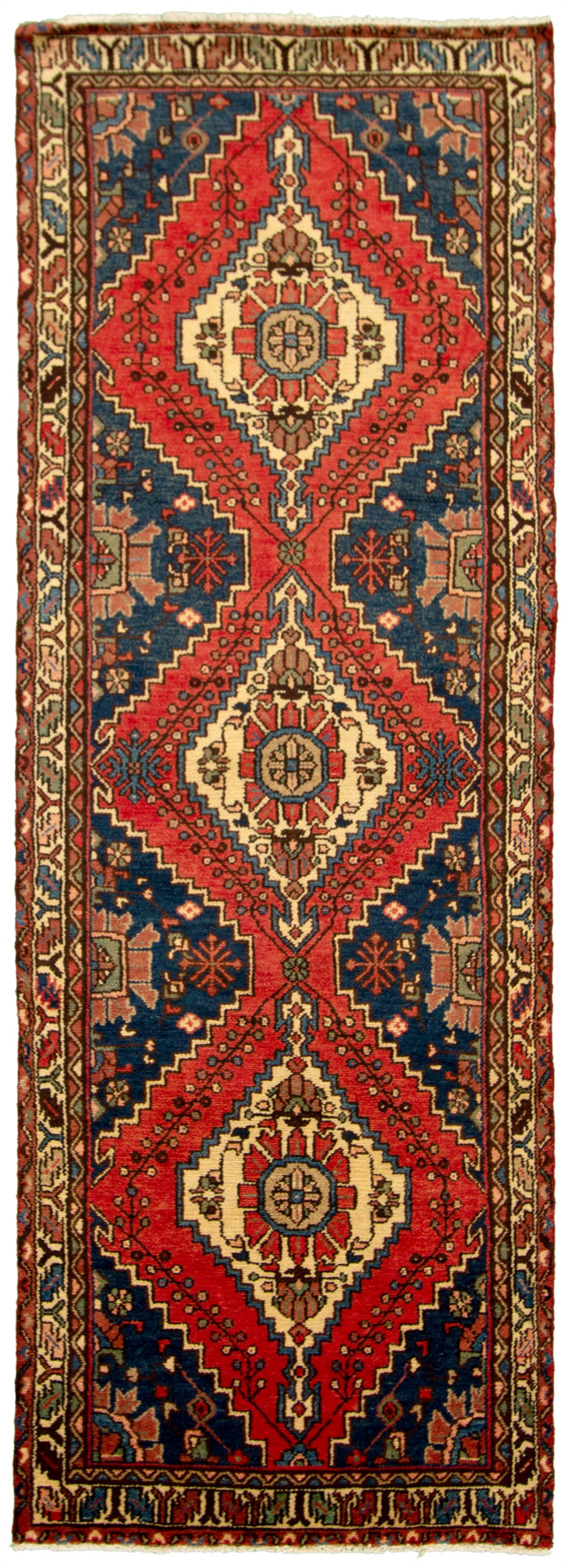 "Hand-knotted Hamadan Dark Blue, Dark Copper Wool Rug 3'6"" x 10'3"" Size: 3'6"" x 10'3"""