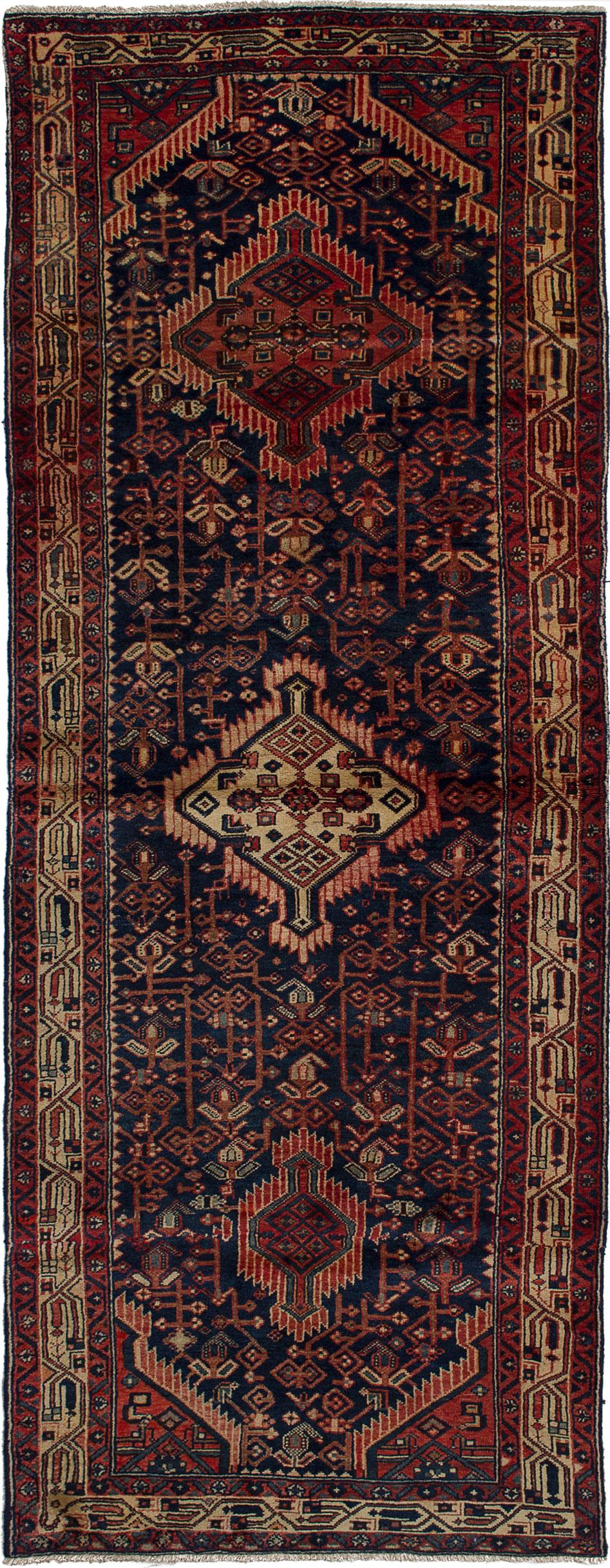 "Hand-knotted Hamadan Dark Blue Wool Rug 3'7"" x 9'6"" Size: 3'7"" x 9'6"""