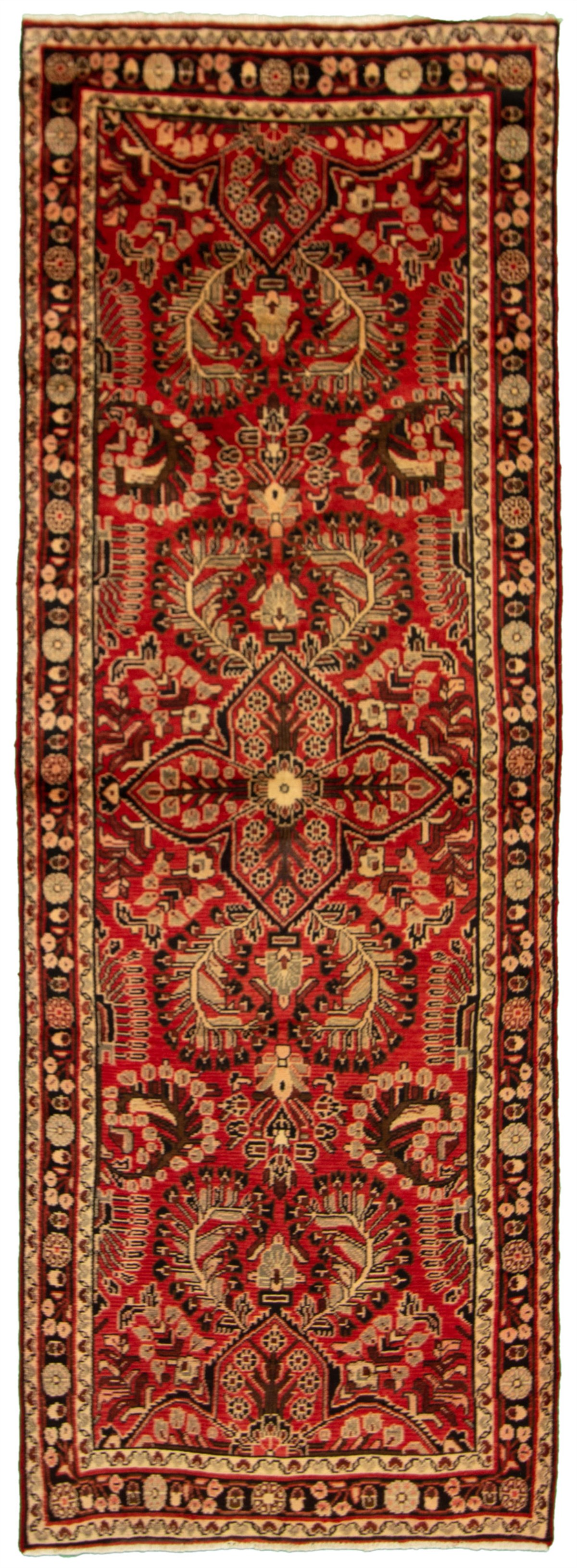 """Hand-knotted Hamadan Red Wool Rug 3'4"""" x 9'10""""  Size: 3'4"""" x 9'10"""""""