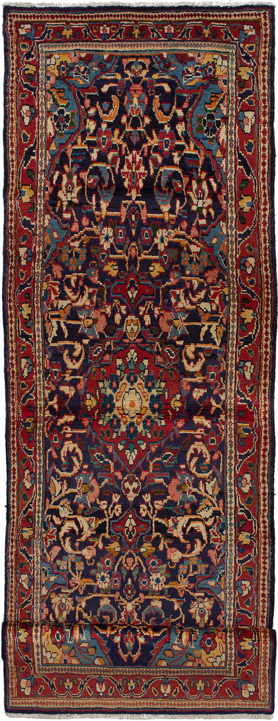 """Hand-knotted Mahal Dark Blue, Red Wool Rug 3'5"""" x 10'4"""" Size: 3'5"""" x 10'4"""""""