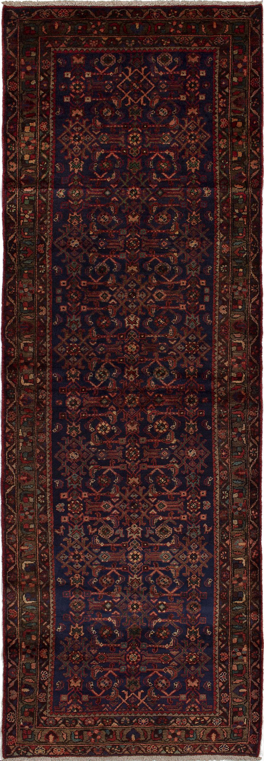 "Hand-knotted Hamadan Dark Blue Wool Rug 3'5"" x 9'11"" Size: 3'5"" x 9'11"""