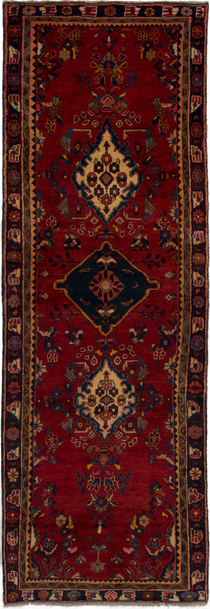 """Hand-knotted Hamadan Red Wool Rug 3'1"""" x 9'2""""  Size: 3'1"""" x 9'2"""""""