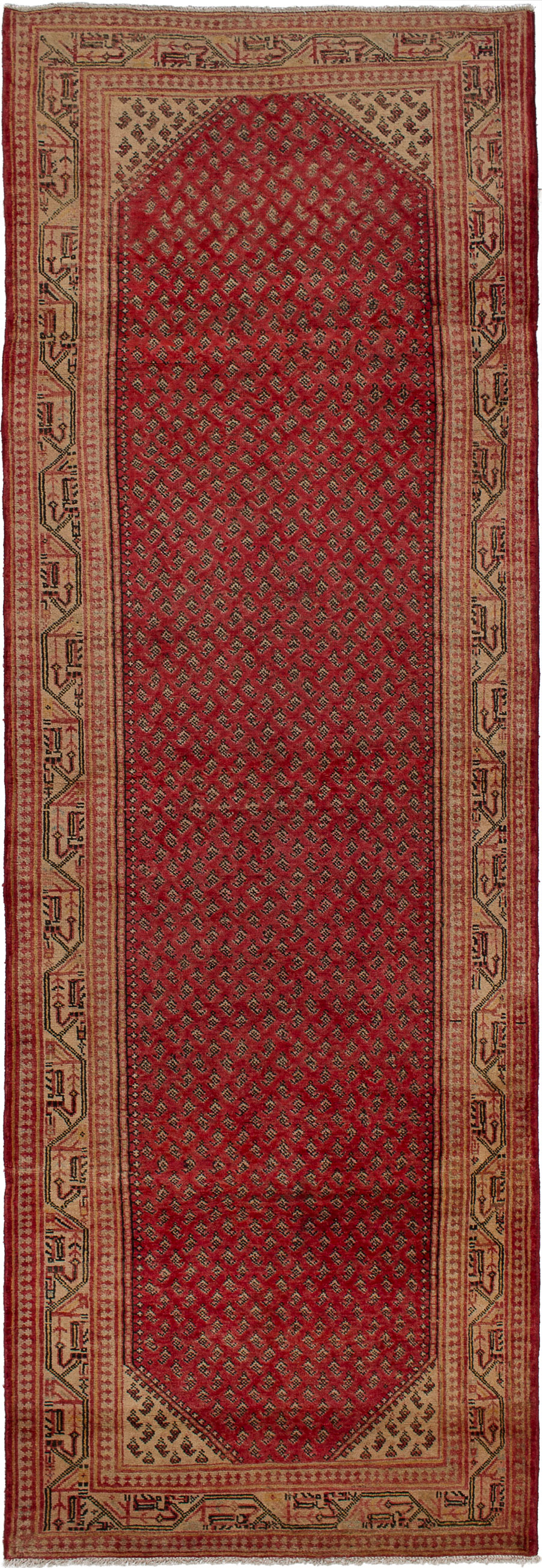 "Hand-knotted Arak Red Wool Rug 3'6"" x 10'4""  Size: 3'6"" x 10'4"""