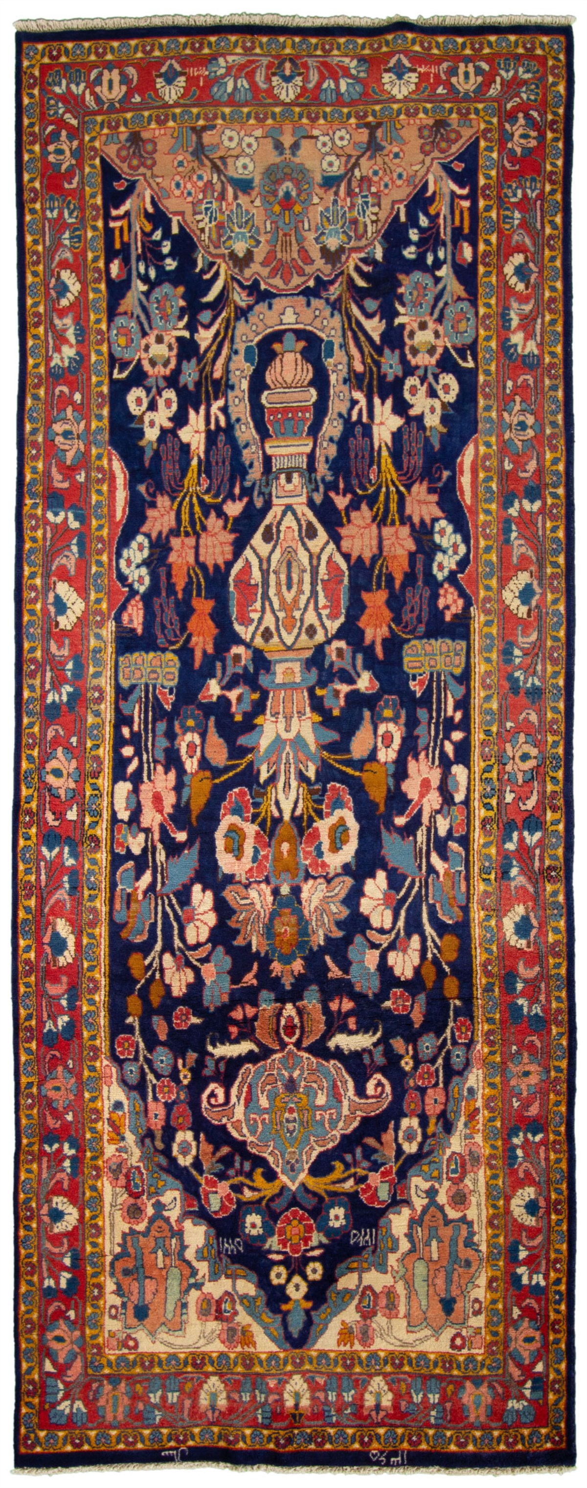 """Hand-knotted Mahal Navy Blue Wool Rug 4'3"""" x 11'3"""" Size: 4'3"""" x 11'3"""""""