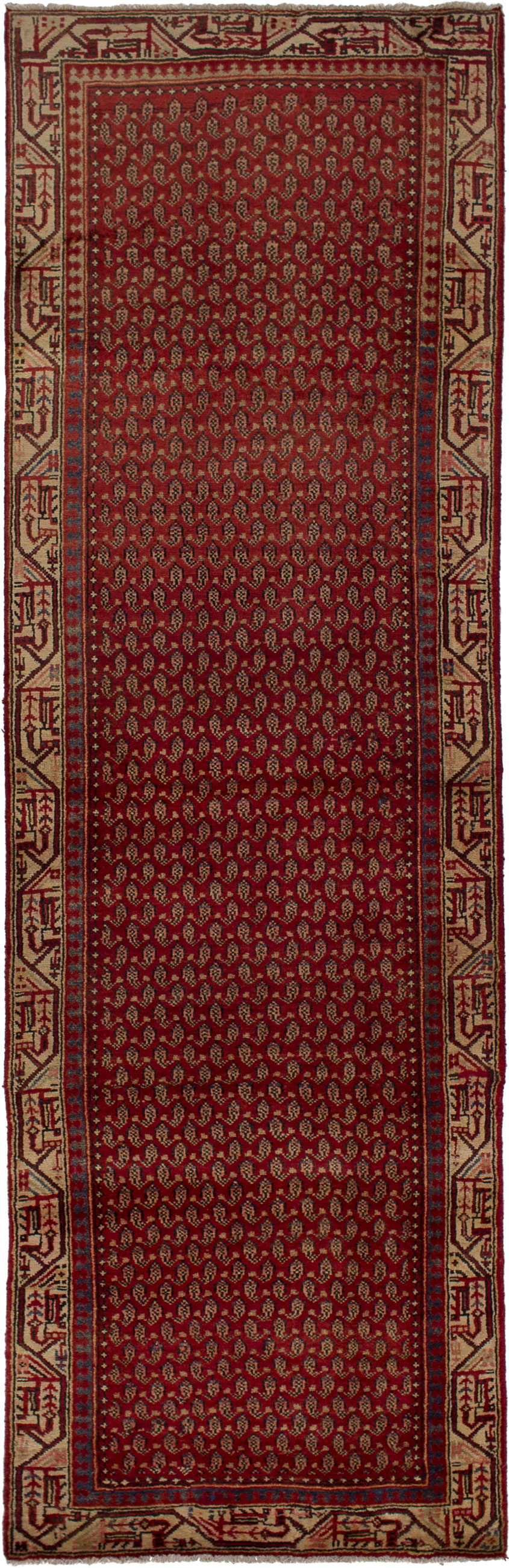 """Hand-knotted Arak Red Wool Rug 3'1"""" x 10'2"""" Size: 3'1"""" x 10'2"""""""