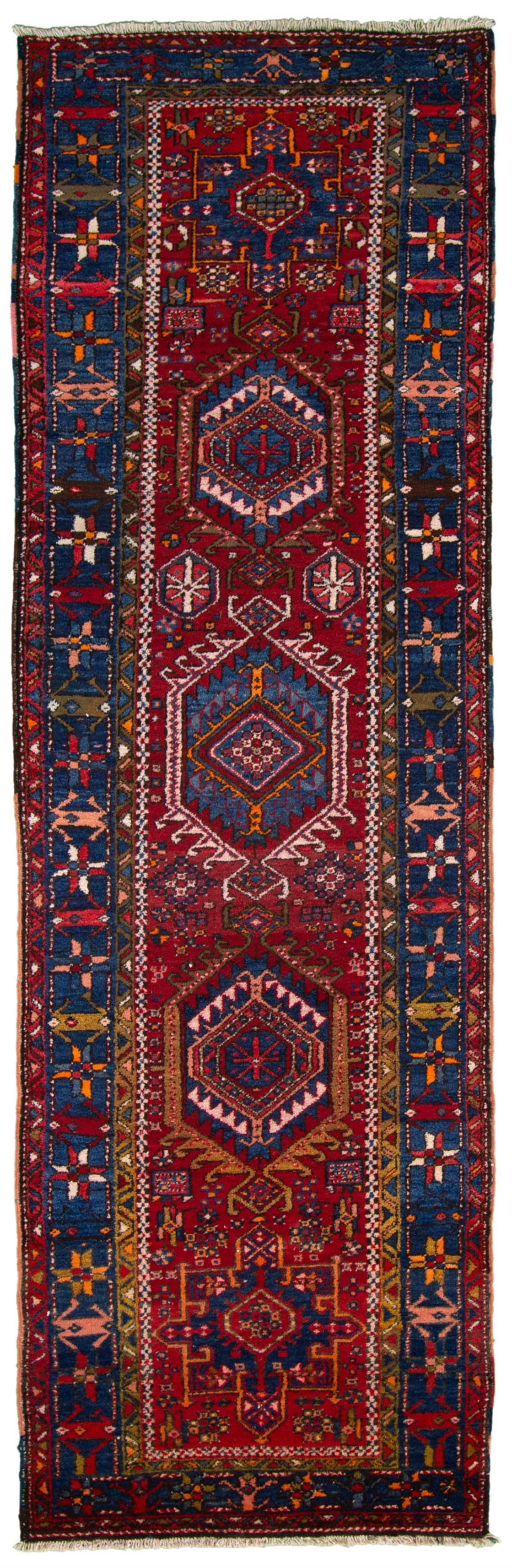 """Hand-knotted Ardabil Blue, Red Wool Rug 3'3"""" x 10'10"""" Size: 3'3"""" x 10'10"""""""