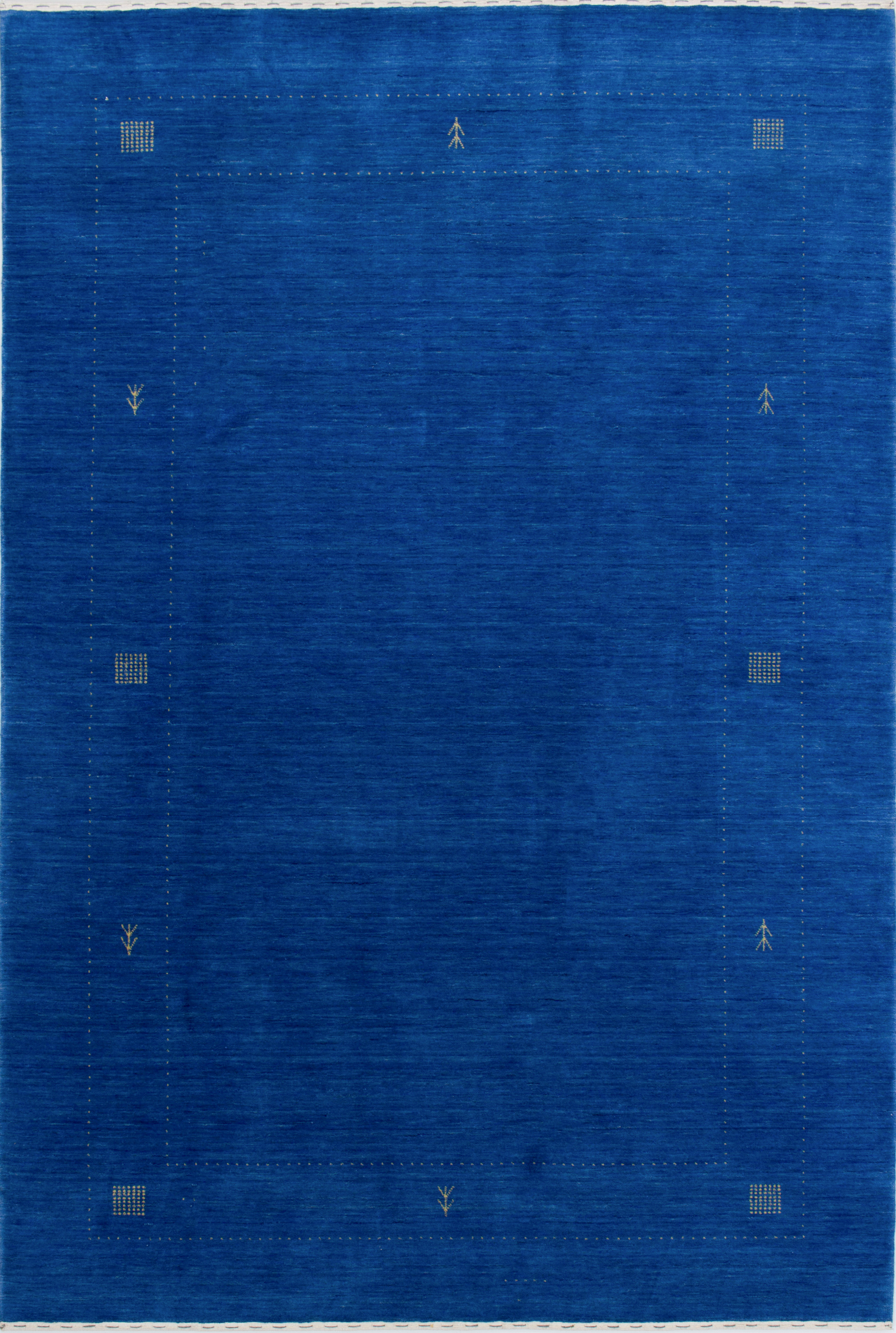 """Hand-knotted Luribaft Gabbeh Riz Blue Wool Rug 6'8"""" x 10'0"""" Size: 6'8"""" x 10'0"""""""