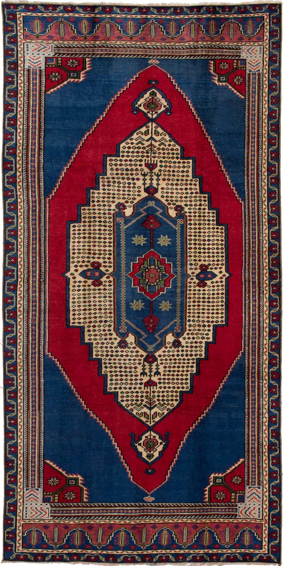 """Hand-knotted Anatolian Vintage Blue, Red Wool Rug 4'10"""" x 9'9"""" Size: 4'10"""" x 9'9"""""""
