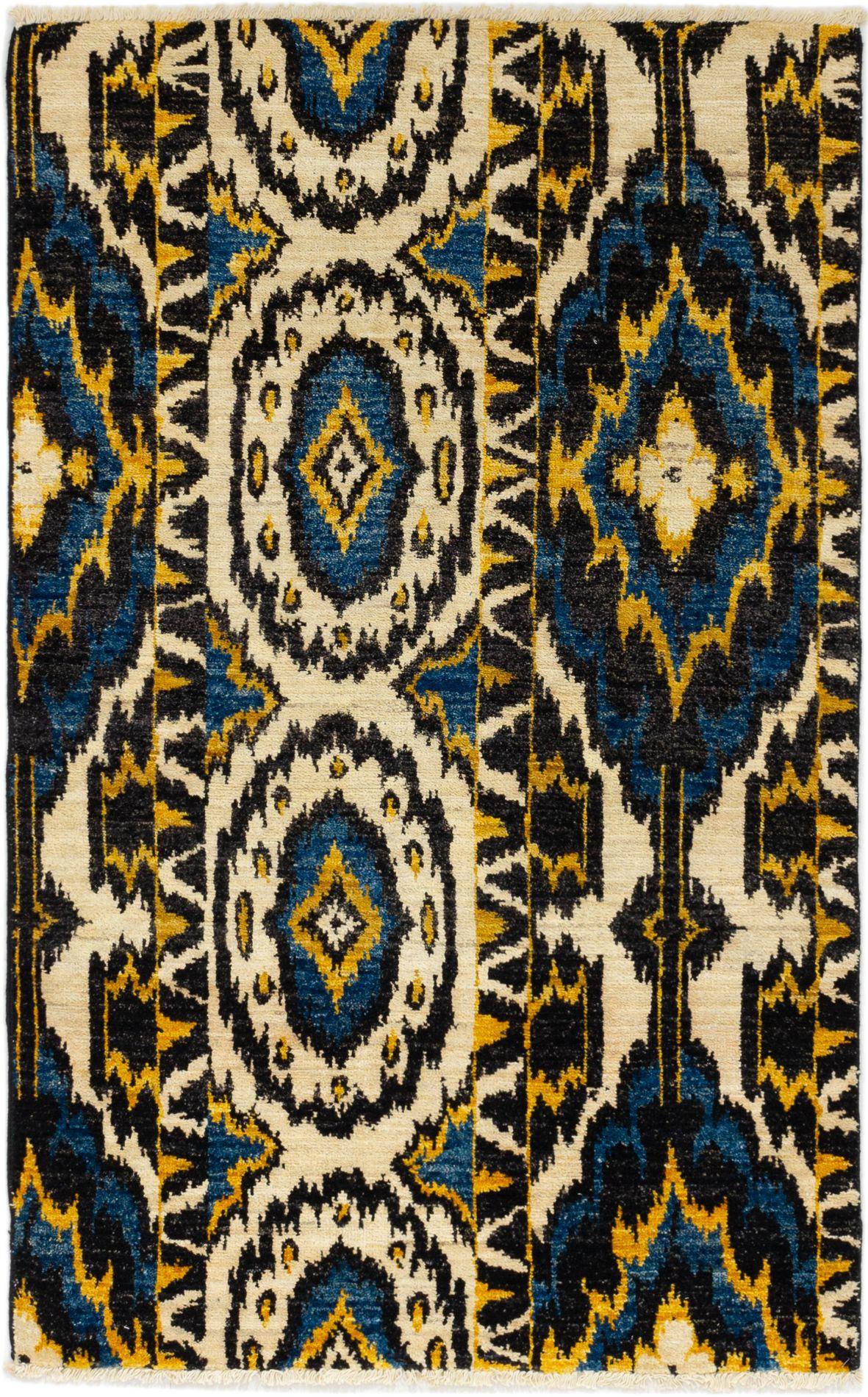 "Hand-knotted Shalimar Cream, Dark Blue Wool Rug 3'11"" x 6'2"" Size: 3'11"" x 6'2"""