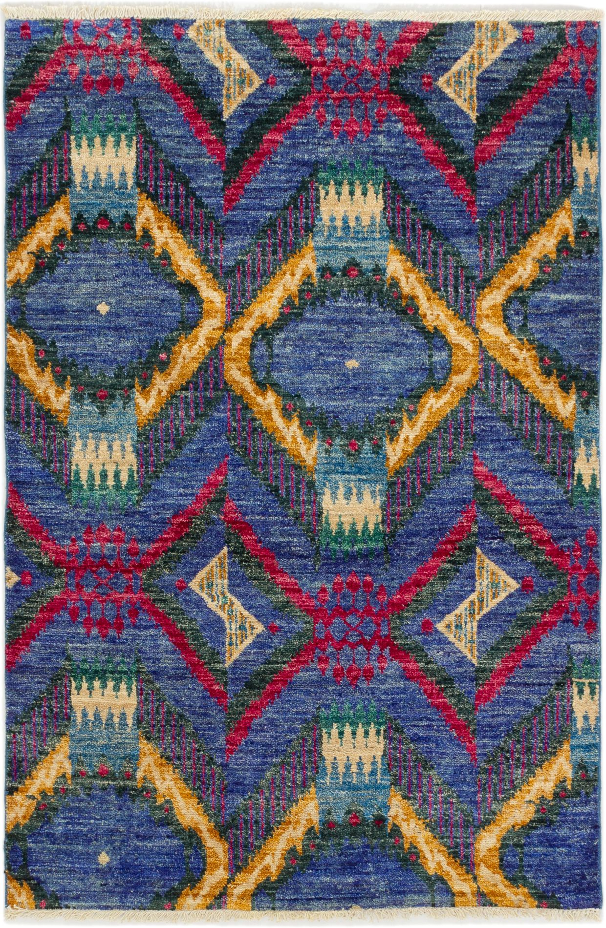"""Hand-knotted Shalimar Blue Wool Rug 4'1"""" x 6'1"""" Size: 4'1"""" x 6'1"""""""