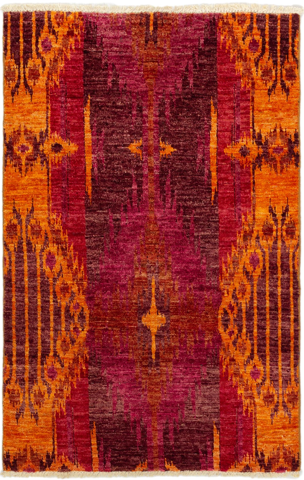 """Hand-knotted Shalimar Light Orange, Red Wool Rug 3'11"""" x 6'0"""" Size: 3'11"""" x 6'0"""""""