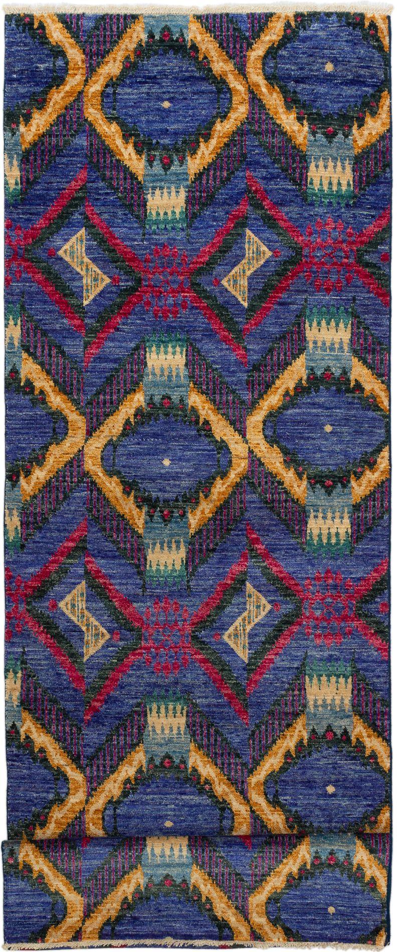 "Hand-knotted Shalimar Dark Blue Wool Rug 4'0"" x 12'1"" Size: 4'0"" x 12'1"""