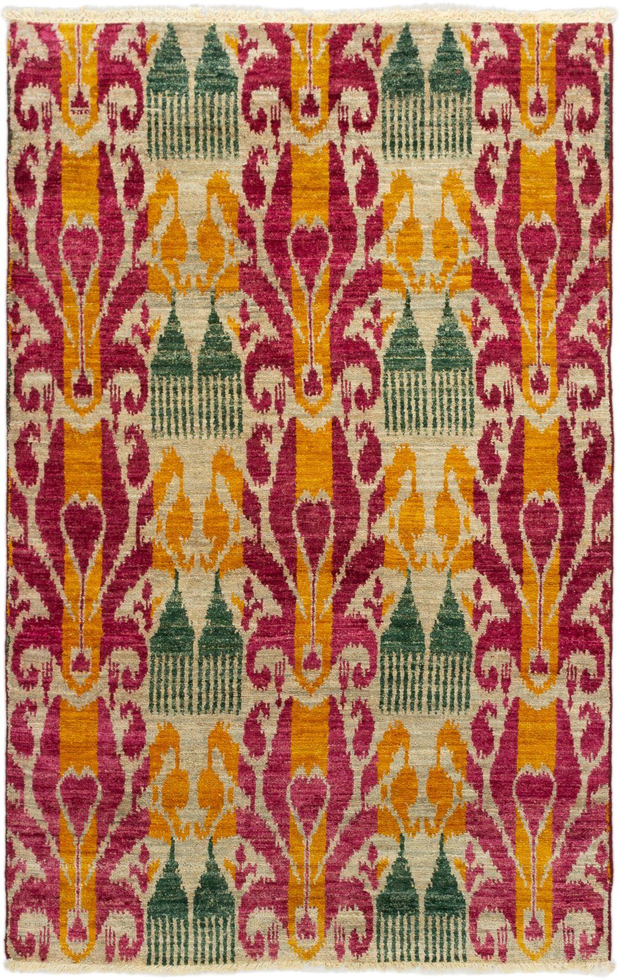 "Hand-knotted Shalimar Dark Red, Light Orange Wool Rug 4'5"" x 6'11"" Size: 4'5"" x 6'11"""