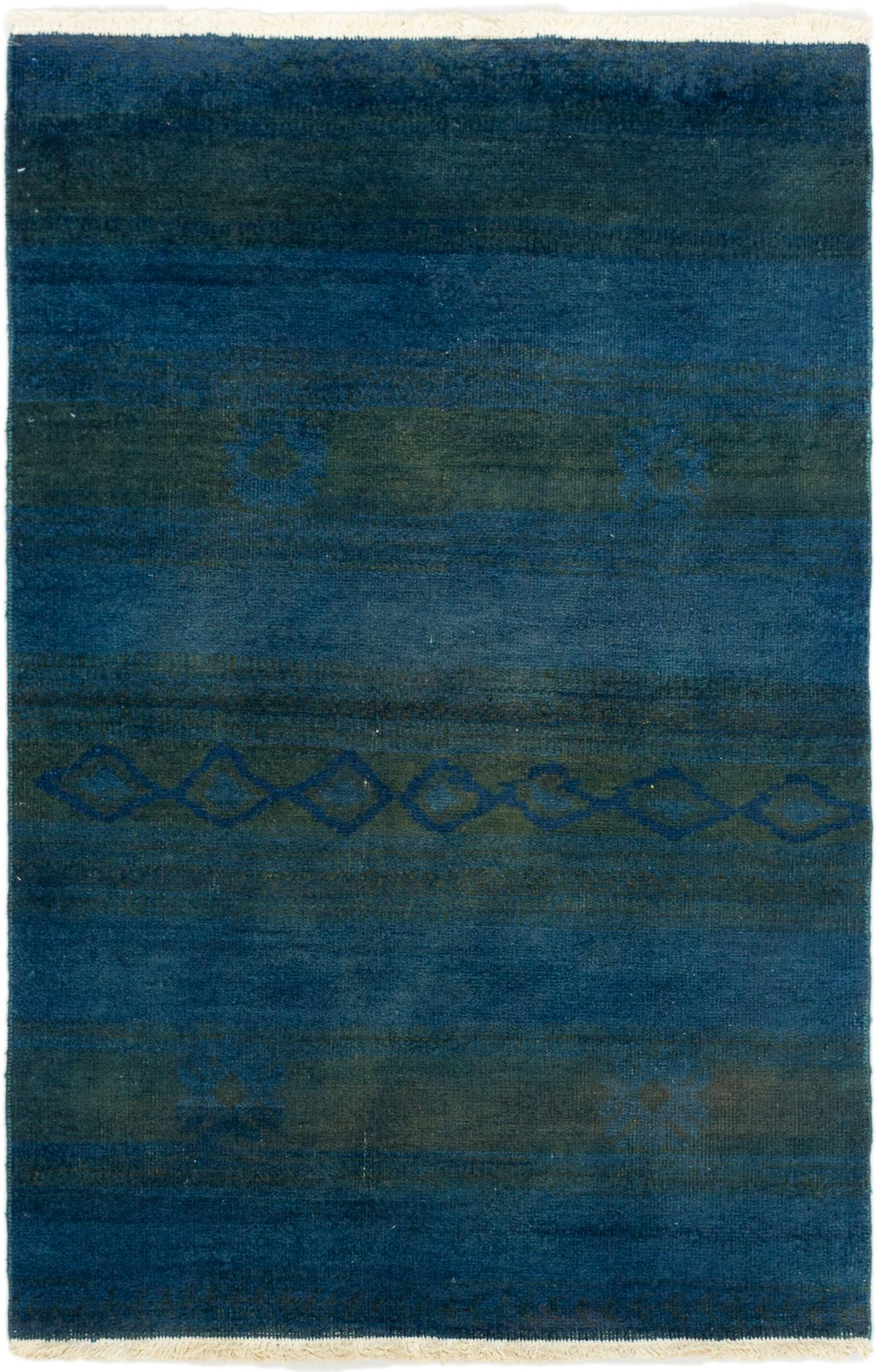 """Hand-knotted Vibrance Blue Wool Rug 3'11"""" x 5'9"""" Size: 3'11"""" x 5'9"""""""