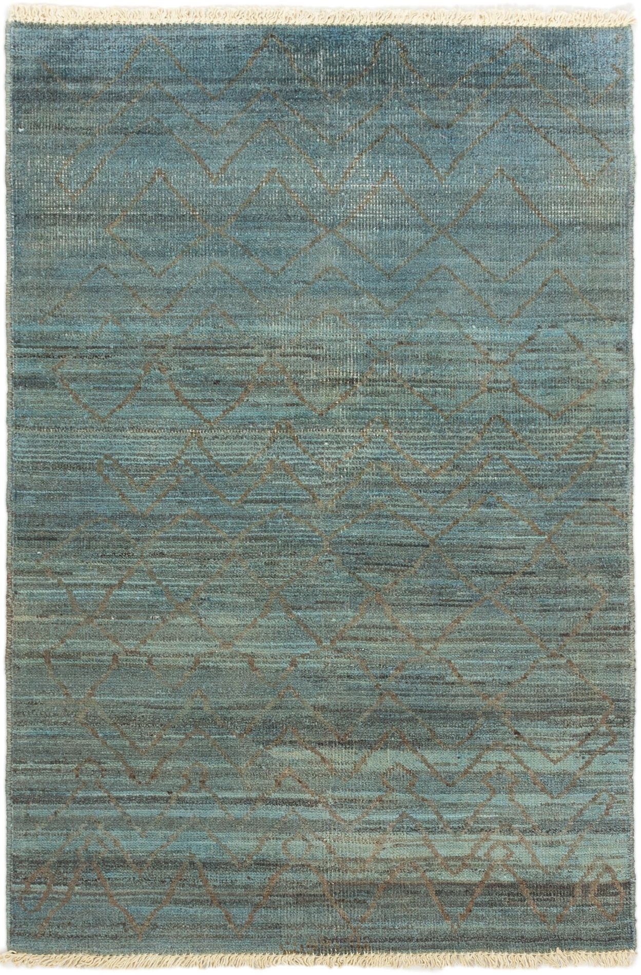 """Hand-knotted Vibrance Grey, Light Blue  Wool Rug 4'2"""" x 5'11"""" Size: 4'2"""" x 5'11"""""""