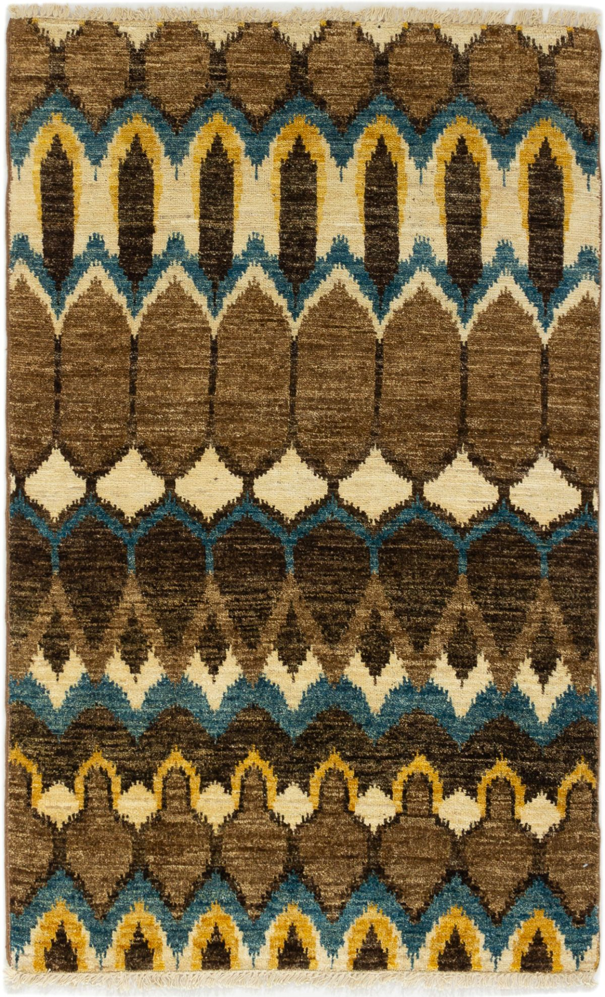 """Hand-knotted Shalimar Tan Wool Rug 3'11"""" x 6'2"""" Size: 3'11"""" x 6'2"""""""