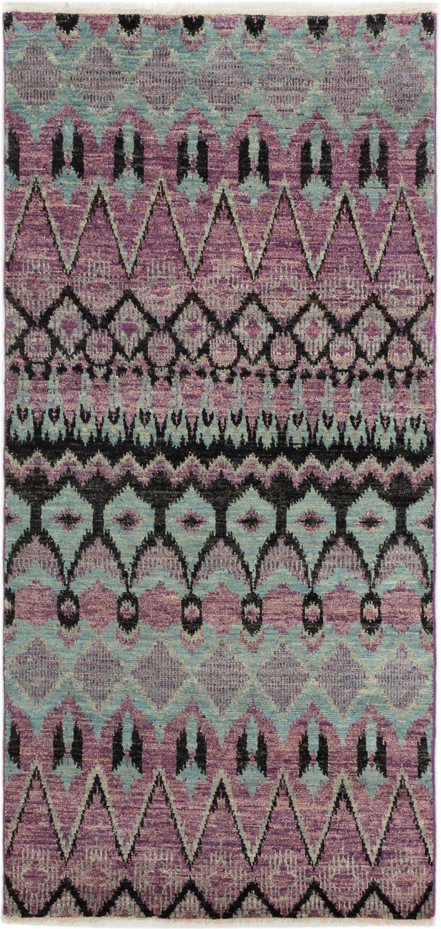 "Hand-knotted Shalimar Light Blue , Violet Wool Rug 3'11"" x 8'3"" Size: 3'11"" x 8'3"""