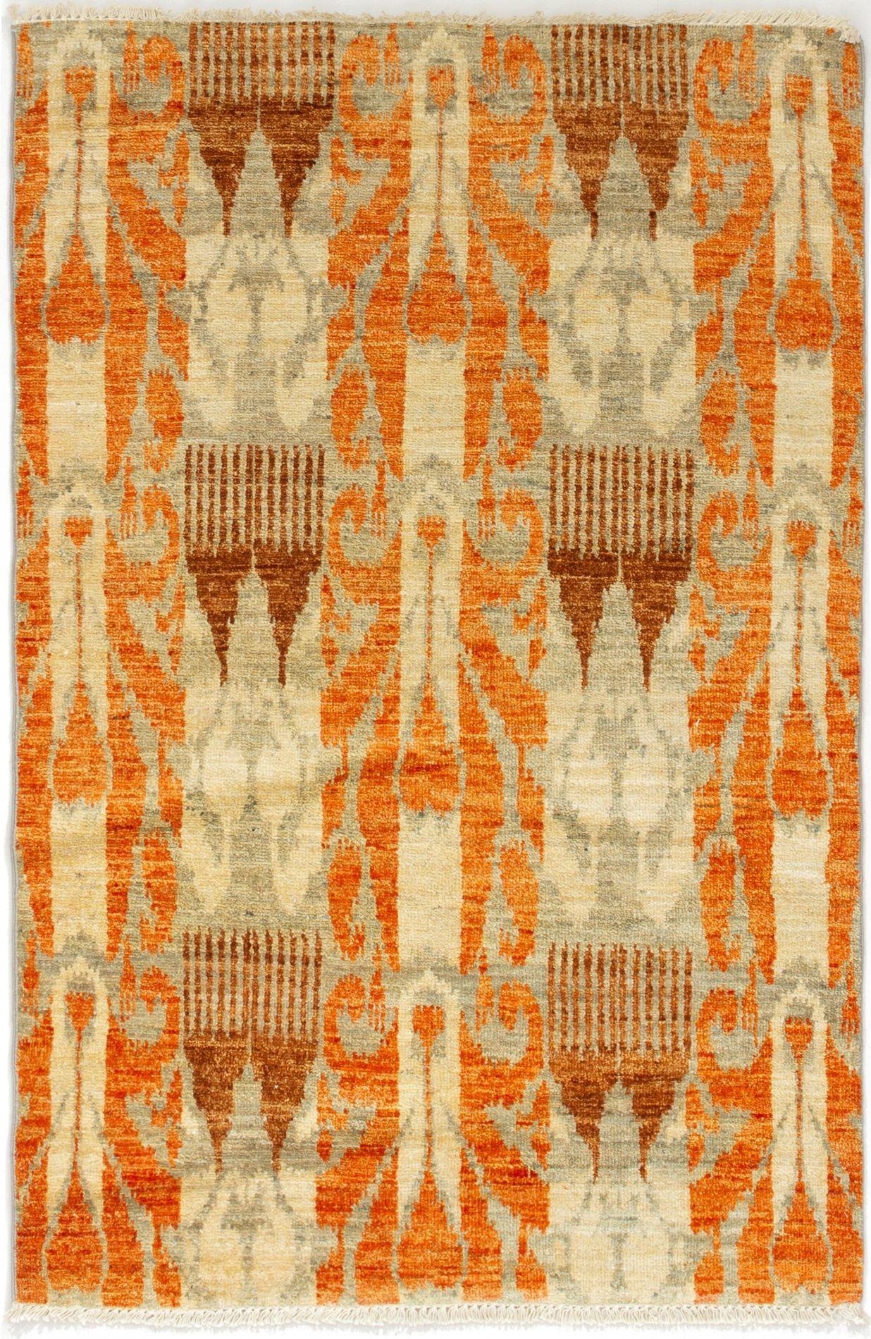 "Hand-knotted Shalimar Orange Wool Rug 4'1"" x 6'1"" Size: 4'1"" x 6'1"""