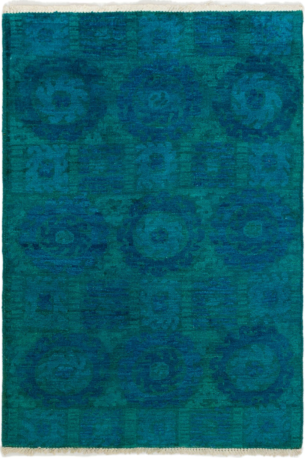 """Hand-knotted Vibrance Blue Wool Rug 4'2"""" x 6'0"""" Size: 4'2"""" x 6'0"""""""